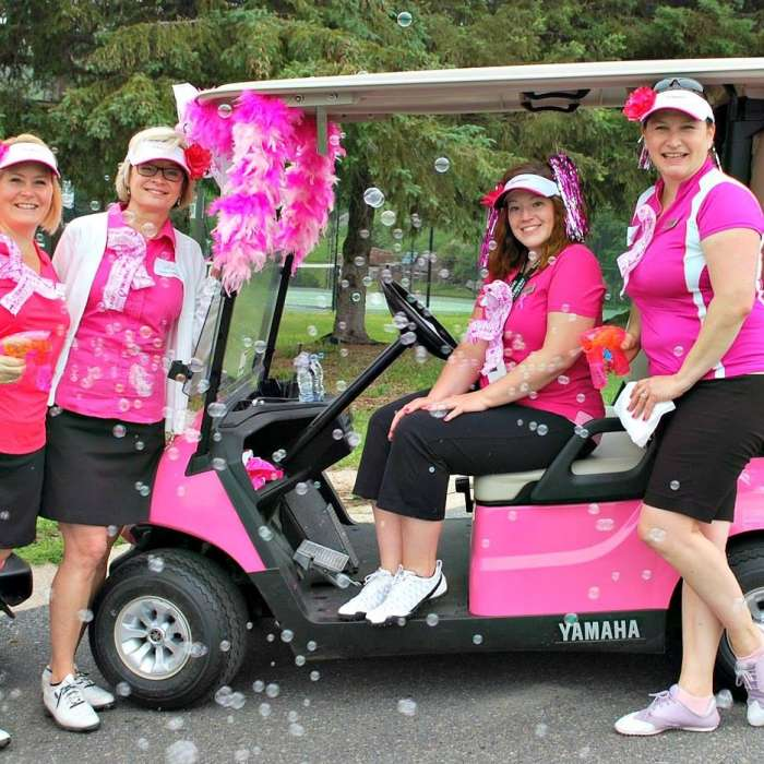 Pink Golf Carts in Support of Huntsville Hospital Foundation for Breast Cancer Awareness